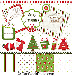 Christmas scrapbook set - Set of Christmas scrapbook design...