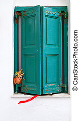 Traditional window from Greece - Traditional window with...