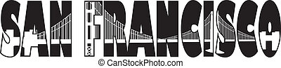 San Francisco Golden gate Bridge Text Outline Illustration -...