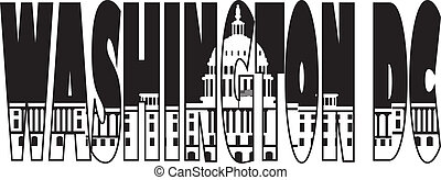 Washington DC Capitol Text Outline Illustration - Washington...