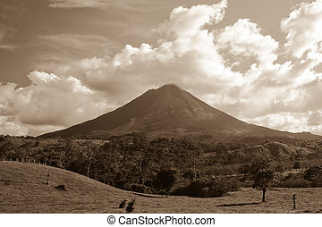 Arenal Volcano - Sepia view of Arenal volcano on island of...