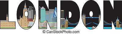 London Skyline Text Outline Color Illustration
