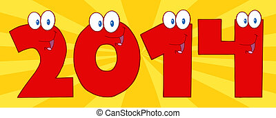 2014 New Year Red Numbers