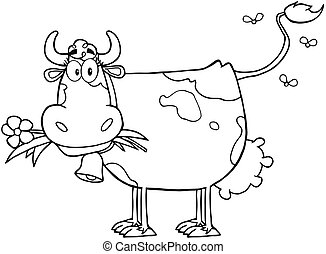Outlined Dairy Cow With Flower In Mouth Cartoon Character