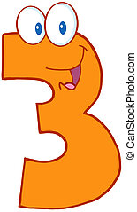 Number Three Character - Illustration Of Happy Number Three...