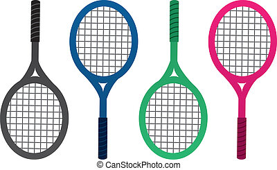 Tennis Racket Colors - Tennis rackets isolated in different...