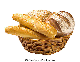 Bread loaves and baguettes in a basket - Bread loaves and...