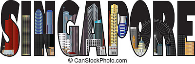 Singapore Skyline Text Outline Color Illustration -...