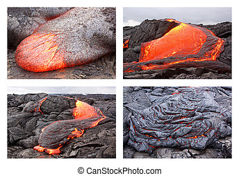 Lava flow in various forms - Basaltic pahoehoe lava flow in...
