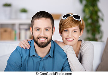 Young Couple Smiling Together - Portrait of young couple...