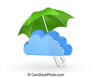 Symbol of cloud under green umbrellaIsolated on white3d...