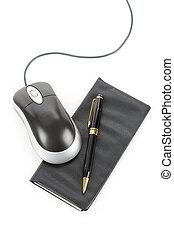 computador, rato, talao cheque