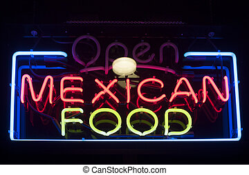 Mexican food neon sign in a restaurant window