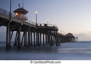 Huntington Beach pier evening - Huntington Beach pier during...