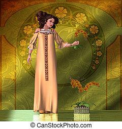 Art Nouveau Woman - Orchids