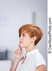 Thoughtful Businesswoman Looking Away - Closeup of...