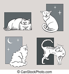 Funny cats sketches set one