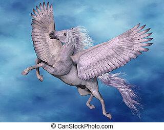 White Pegasus - A white Pegasus flies on beautiful white...