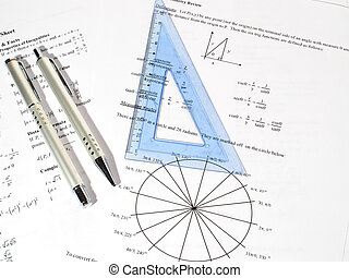 Angles and formula - An image showing pens and a triangle