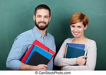 profesores, tenencia, Libros, y, archivos