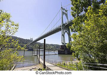 St Johns Bridge Over Willamette River