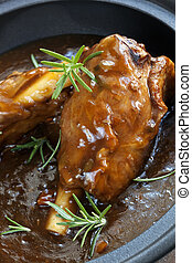Lamb Shanks in Gravy - Lamb shanks in gravy, with rosemary.