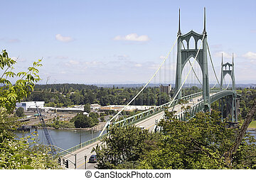 St Johns Bridge with Traffic Over Willamette River in...