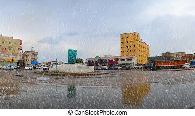 jeddah at afternoon with heavy rain - ring square in jeddah...