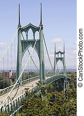 St Johns Bridge for Vehicles Over Willamette River - St...