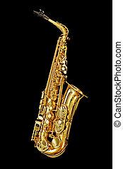 saxofone, isolado, pretas