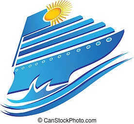 Cruise sun and waves logo vector