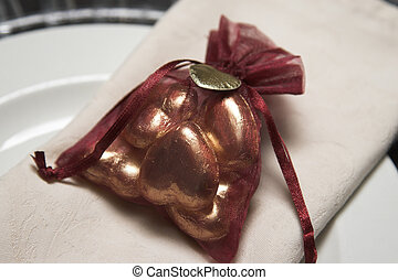 Wedding Favor - Burgundy organza bag filled with chocolate...