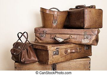 Leather stuff - Collection of leather suitcases and bags...