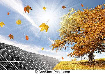 Autumn landscape with solar panels