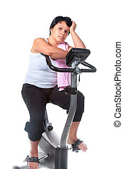 fitness for fat woman - fat woman workout on the bicycle