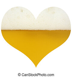 Love for Beer - Heart shaped beer isolated in white