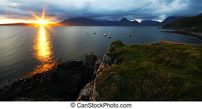 Sea sunset - Beautiful sunset at port elgol in scotland...