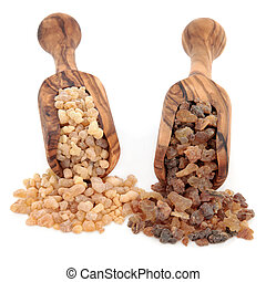 Frankincense and Myrrh - Frankincense and myrrh in olive...