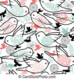 Birds silhouettes seamless pattern background - Vector birds...