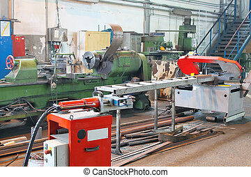 Machine is in production workshop of the plant