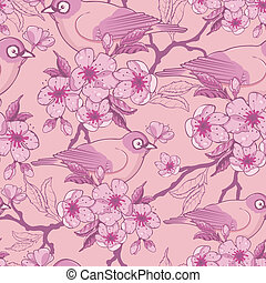 Birds among sakura flowers seamless pattern background -...