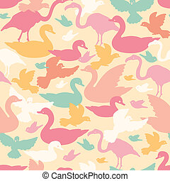 Colorful birds silhouettes seamless pattern background -...
