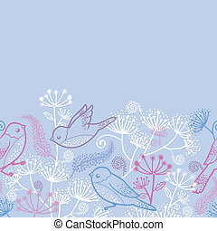 Pastel birds and flowers horizontal seamless pattern border...