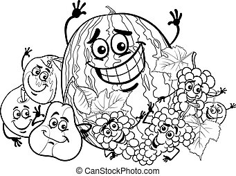 fruits group cartoon for coloring book