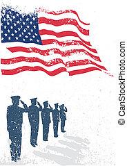 EUA, bandeira, soldados, saudando