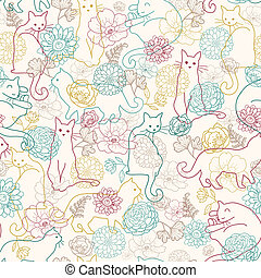 Cats among flowers seamless pattern background - Vector cats...