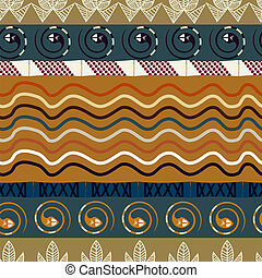 Tribal seamless pattern with lotus and snake