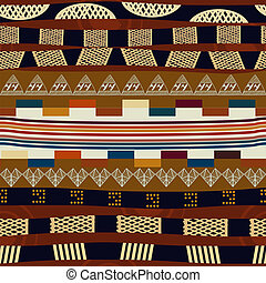 Seamless pattern with stripes and a stylized heart. Tribal...