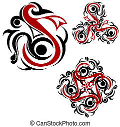Tribal tattoo with red elements