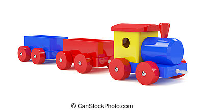 Train toy - 3d render of toy train isolated on white...